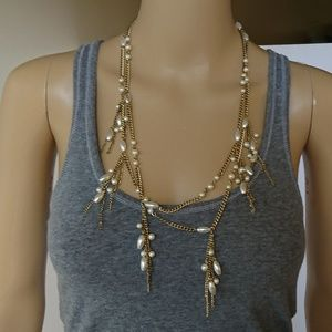 Chico's Ultra Long Faux Pearl Gold Necklace